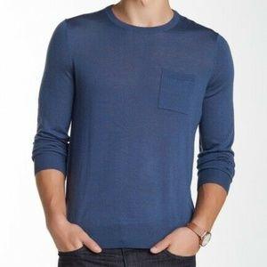 Vince Wool Crew Neck Pocket Sweater NWT Sz XL Blue